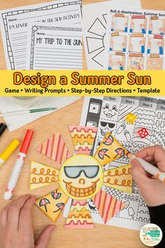 Need a last minute art sub plan? Here's a fun summer sun drawing art game for elementary art students. Summer Art Projects, Summer Crafts For Kids, Summer Activities For Kids, Projects For Kids, Art Lessons For Kids, Art Lessons Elementary, Art For Kids, Sun Drawing, Drawing For Kids