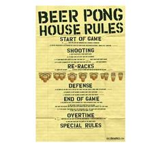 Beer Pong - House Rules Poster Rolled and sleeved in a plastic bag Shipped in a Cardboard tube Ready to hang. Easy to use Proudly & Professionally Made in the USA for over 30 years Poster is an original image of Poster service, Inc