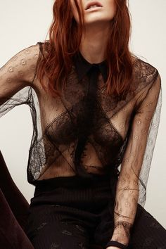 Delicate Sheer Lace Blouse - elegant style; outfit love // Sharon Wauchob