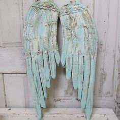 Large wooden angel wings soft sea foam aqua by AnitaSperoDesign, $210.00