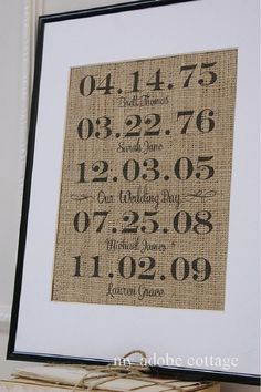 Personalized Family Burlap Print...great housewarming gift, anniversary gift