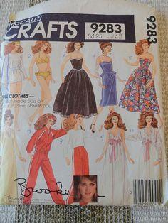 Vintage 80s McCalls Crafts 9283 Barbie Doll Clothes Pattern Brook Shields