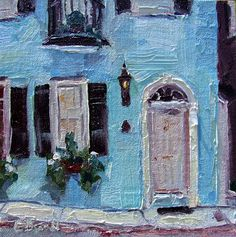 Charleston - 17 Tradd Street - small impressionistic original oil painting by Gina Brown Art