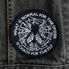 What is Normal Patch by Life Club - Patch denim jacket patch, morticia addams, the addams family, embroidered patch, punk from LifeClub on Etsy. Punk Patches, Denim Jacket Patches, Cool Patches, Pin And Patches, Iron On Patches, Diy Patches, Punk Jackets, Denim Jackets, Morticia Addams