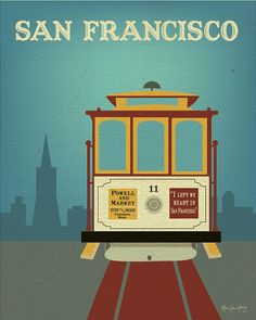 Cable Car San Francisco, California - Travel Wall  Art Poster Print for Home, Office, or Nursery Room - style E8-O-SF7