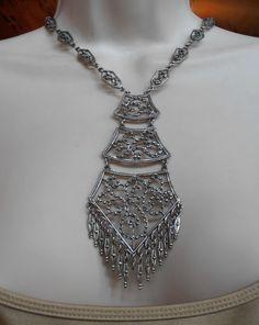 Bib Necklace Art Deco Style Faux Marcasite by LynnHislopJewels