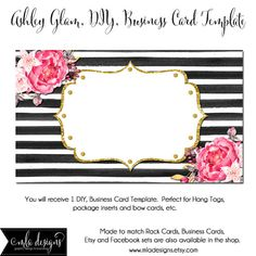 Elegant black stripped business card template craft storage dyi blank business card template ashley glam made to match etsy sets and facebook wajeb Choice Image