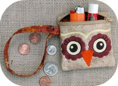 In the hoop embroidery design. Owl wristlet.