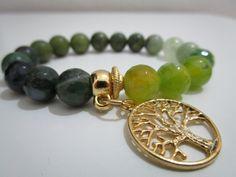 Pulsera piedras semipreciosas,Pulsera de Agata verde venas de dragon,Agata…
