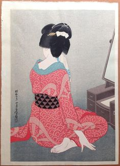 Artist: Hirano Hakuho(1879-1957) Title: Before the Mirror (Kagami no Mae) Date: 1932(Showa 7[4th month]) Publisher: Privately published. Credit given to Watanabe Size: Oban, image size 10 1/8 x 14 1