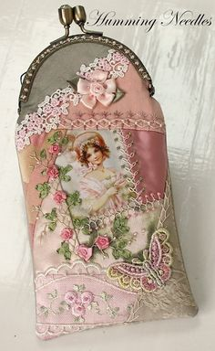Pretty idea for purse - Love the combination of ribbon embroidery with sweet vintage image and lovely lace trims! :)