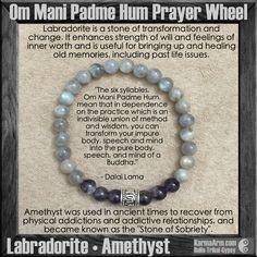 MANTRA: If I can see it, I can be it. - 6mm Amethyst Natural Gemstones - 6mm Labradorite Natural Gemstones - Tibetan Silver Om Mani Padme Hum Prayer Wheel - Commercial Strength, Latex-Free Elastic Ban