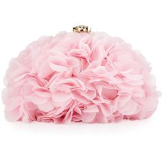 Betsey Johnson Soft Flower Clutch Bag ($46) ❤ liked on Polyvore featuring bags, handbags, clutches, blush, pink handbags, flower print handbags, chain handle handbags, rhinestone purses and chain strap purse