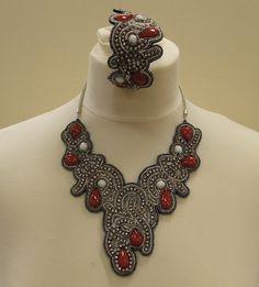 Edwardian style statement bib necklace and matching bangle £17.50.FREE POSTAGE.