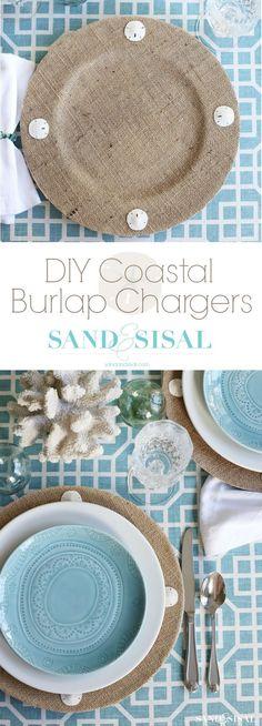 DIY Coastal Burlap Chargers - sandandsisal.com