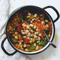 One Pot Tomato Collard and White Bean Stew