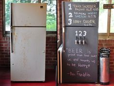 the Perfect Man Cave With These 5 Awesome DIYs Turn your old ugly fridge into a beer tap complete with a chalkboard for writing a menu.Turn your old ugly fridge into a beer tap complete with a chalkboard for writing a menu. Man Cave Diy, Man Cave Home Bar, Man Cave Basement, Man Cave Garage, Ugly Fridge, Beer Fridge, Bar Deco, Ultimate Man Cave, Garage Bar