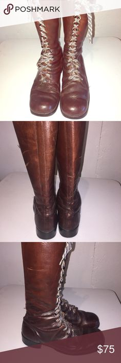 Vintage O'Sullivans Brown Leather Motorcycle Boots Size 12 men's vintage motorcycle boots are badddddd! Great condition - lace up w eyelets. Shoelaces in great condition. No known issues except on back of one boot (on right) slight Leather dent but other than that, in great condition for vintage. You're getting for a deal! Bottom says Made in USA; 12 Iron. Your purchases are helping to bring us closer to our dream of opening up a thrift shop that will benefit people and pets like my Gemmie…