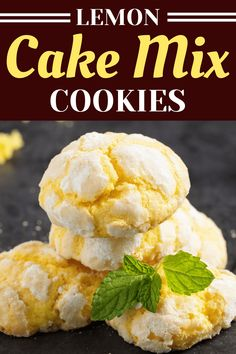 These lemon cake mix cookies are light, chewy, and bursting with lemon flavor! Learn how to make them and also get tips for the best cookies. Lemon Desserts, Lemon Recipes, Cookie Desserts, Cookie Recipes, Delicious Desserts, Cat Recipes, Cookie Ideas, Yummy Treats, Lemon Cake Mix Cookies