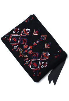 Cross-stitch Tribal Embroidery Clutch Zippered Bag / Pouch
