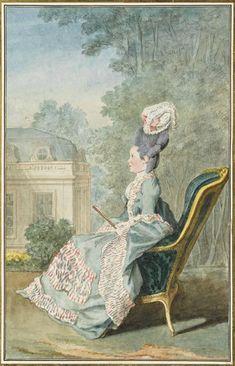 """Louis Carrogis Carmontelle (French, 1717 – 1806) """"Mademoiselle de Mercy, de Villiers-Cotterets"""", 1774."""