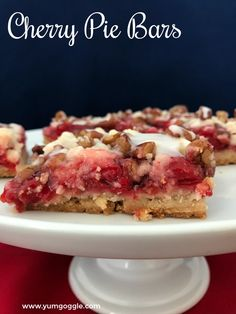 Cherry pie bars have a delicious shortbread crust and are full of cherry flavor.