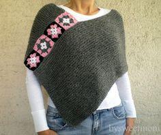 Poncho tejido a mano las mujeres bufanda capucha por bysweetmom