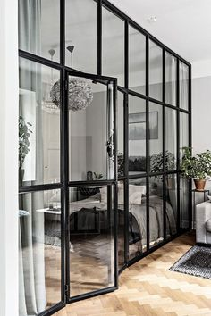 〚 Beautiful gray apartment with small bedroom behind glass wall (40 sqm) 〛 ◾ Photos ◾ Ideas ◾ Design #g;ass #wall #interiordesign #Homedecor #inspiration #cozy #living #style #space #home #decor