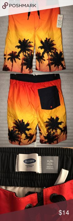 NWT Old Navy Dino Dinosaur Sunglasses Swim Trunks Board Shorts Boys L XL