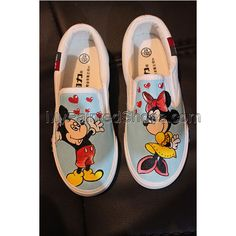 Disney Mickey Minnie Mouse Painted Canvas Shoes, Hand Painted Shoes, Mickey Minnie Mouse, Disney Mickey, Snoopy Shoes, Painting Shoes, Converse, Vans, On Shoes