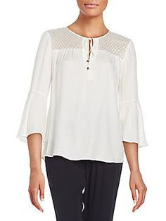 Ella Moss Lace-Detail Bell-Sleeve Top - Natural - Size