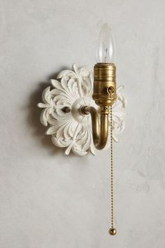 if could try to make something similar Anthro Royal Villa Sconce Living Room Lighting, Wall Sconce Lighting, Wall Sconces, Wood Sconce, Nursery Lighting, Unique Lighting, Home Lighting, Lighting Ideas, Lighting Design