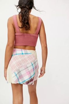 BDG Stella Plaid Patchwork Mini Skirt | Urban Outfitters Special Dresses, Plaid Design, Urban Outfitters, Mini Skirts, Two Piece Skirt Set, Cotton, Spandex, Zipper, Shopping