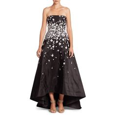 Monique Lhuillier Embroidered Strapless Hi-Lo Gown ($5,995) ❤ liked on Polyvore featuring dresses, gowns, noir multi, embroidery dress, high low gown, strapless gown, high low evening gowns and high low dresses