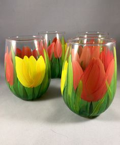 Tulip stemless wine glasses set of four by AutumnFreckleDesigns