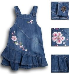 Buy Summer Denim Embroidery Floral Baby Kids Girl Toddler Straps Ruffle Dress Clothes at Wish - Shopping Made Fun Toddler Dress, Toddler Outfits, Baby Dress, Toddler Girl, Kids Outfits, Jean Overall Dress, Jeans Overall, Little Girl Outfits, Little Dresses