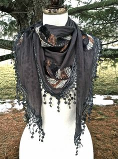 SCARF SARONG embroidery triangle lace fringe dk gray ivory tan black 62x22 NEW #Import #trianglescarfsarong