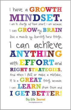 Get your own growth mindset poster for kids from Big Life Journal. A perfect way to motivate kids and help them develop a growth mindset. Growth Mindset For Kids, Growth Mindset Posters, Growth Mindset Classroom, Growth Mindset Activities, Growth Mindset Display, Growth Mindset Lessons, What Is Growth Mindset, Classroom Norms, Classroom Quotes