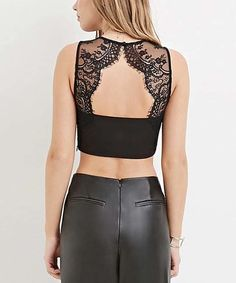 Loving this Black Lace Cutout Crop Top on #zulily! #zulilyfinds
