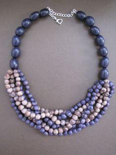 Violet Tagua Nut & Violet/Mauve Acai Beads Multi-strand Necklace.