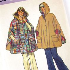 Reversible Cape Sewing Pattern / Hooded Cape with by SelvedgeShop