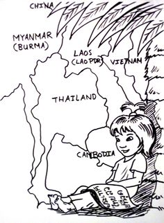 Thai Girl Coloring Page Colouring Child Kid Cartoon Thailand