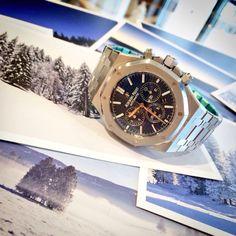 Audemars Piguet Royal Oak Chronograph with blue dial.  Www.armstrongrockwell.com