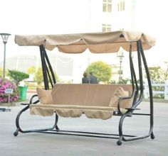 Outsunny Covered Outdoor Porch Swing Bed w Frame Yard Patio Deck Furniture New Outdoor Sofa, Outdoor Swing Seat, Patio Swing, Outdoor Cushions, Outdoor Seating, Porch Swings, Garden Swings, Swing Chairs, Canopy Swing
