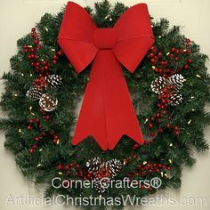 30 inch L. Deluxe Traditional Christmas Wreath - 2014 - christmaspops : 30 inch L. Large Christmas Wreath, Artificial Christmas Wreaths, Christmas Wreaths For Front Door, Christmas Tree Cards, Easy Christmas Crafts, Christmas Music, Holiday Wreaths, Simple Christmas, Christmas Traditions