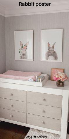 Baby Bedroom, Baby Boy Rooms, Celebrity Nurseries, Unisex Baby Room, Unisex Nursery Ideas, Bunny Nursery, Nursery Grey, Floral Nursery, Baby Girl Nursery Pink And Grey