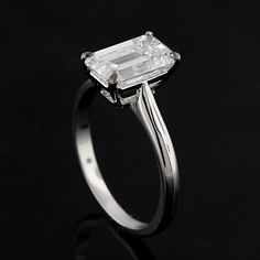 Diamond Emerald Cut Solitaire Platinum Engagement Ring by OroSpot, $900.00