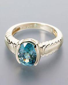 Wertvoller Goldring mit blauem Zirkon - jetzt online bestellen!