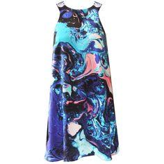 Florence Bridge - Indigo Print Mini Dress ($160) ❤ liked on Polyvore featuring dresses, blue print dress, marble print dress, marble dress, indigo dress and print mini dress