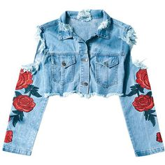 HYYDE Rose Embroidery Cut Out Denim Jacket ($109) ❤ liked on Polyvore featuring outerwear, jackets, distressed jacket, pocket jacket, blue denim jacket, blue jackets and distressed jean jacket
